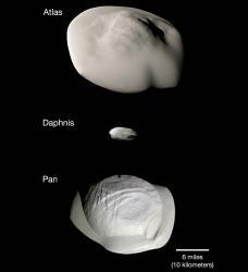 NASA показало малые спутники Сатурна