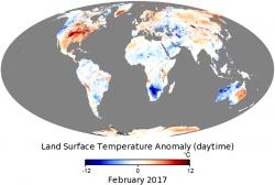 NASA обнародовали карту температурных аномалий в мире