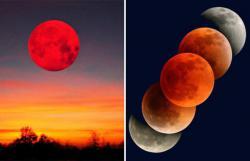 Полное лунное затмение и противостояние Марса