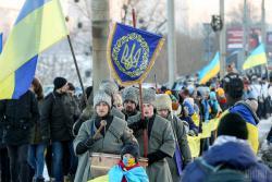 Сотни людей в Киеве образовали живую цепь в День Соборности